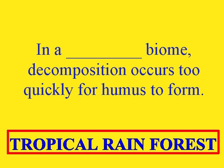 In a _____ biome, decomposition occurs too quickly for humus to form.