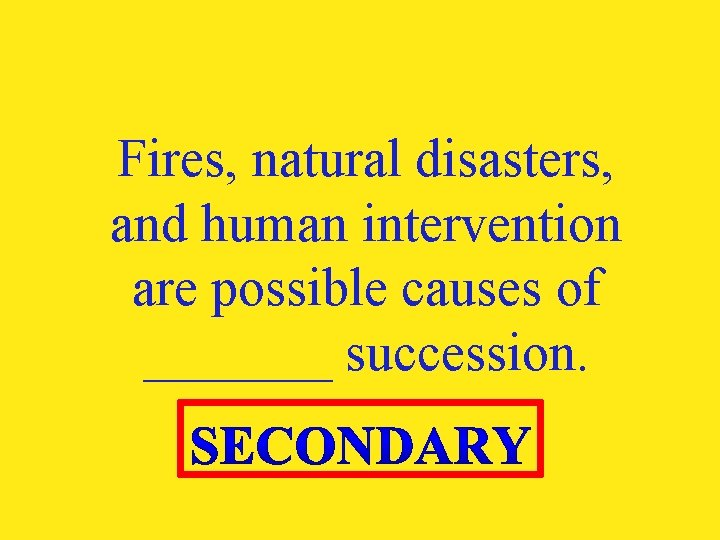 Fires, natural disasters, and human intervention are possible causes of _______ succession.
