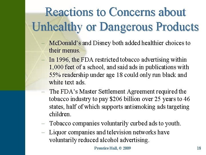Reactions to Concerns about Unhealthy or Dangerous Products – Mc. Donald's and Disney both
