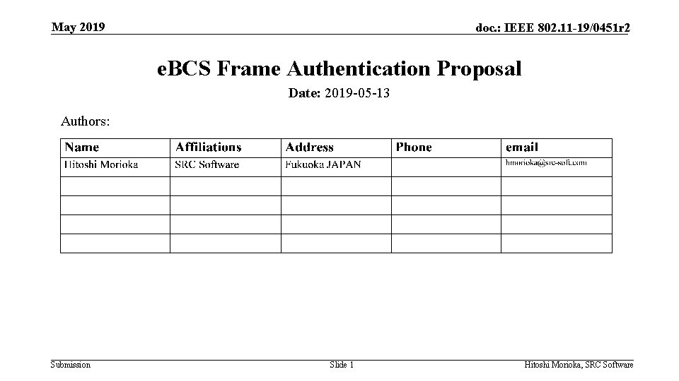 May 2019 doc. : IEEE 802. 11 -19/0451 r 2 e. BCS Frame Authentication