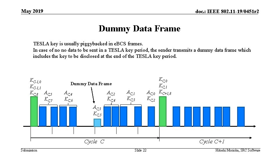 May 2019 doc. : IEEE 802. 11 -19/0451 r 2 Dummy Data Frame TESLA