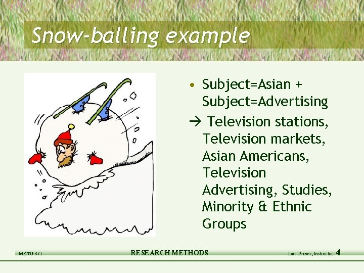 Snow-balling example • Subject=Asian + Subject=Advertising Television stations, Television markets, Asian Americans, Television Advertising,