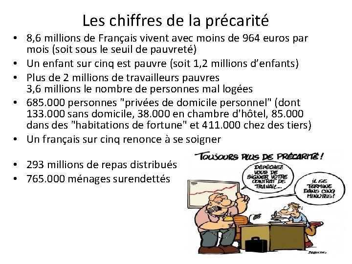 Les chiffres de la précarité • 8, 6 millions de Français vivent avec moins