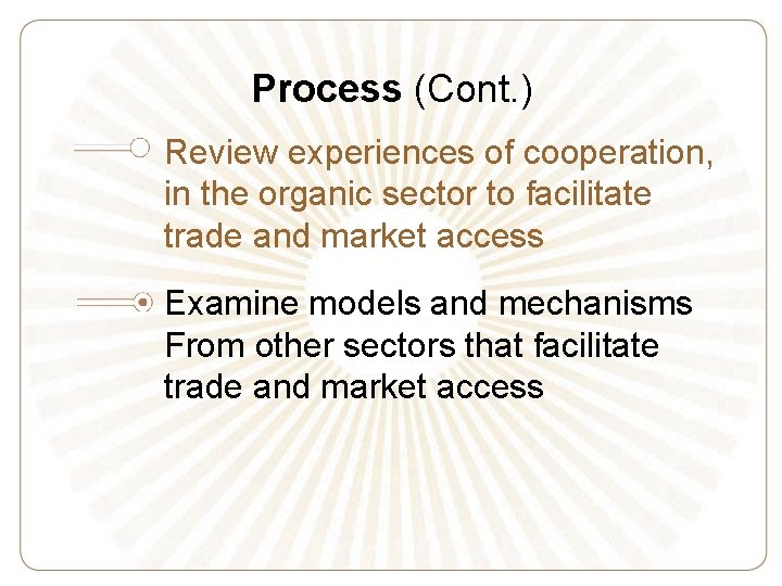 Process (Cont. ) Review experiences of cooperation, in the organic sector to facilitate trade