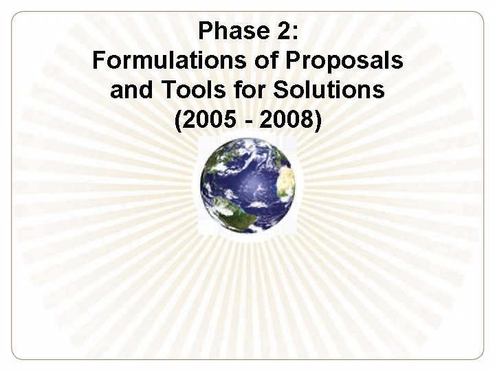 Phase 2: Formulations of Proposals and Tools for Solutions (2005 - 2008)