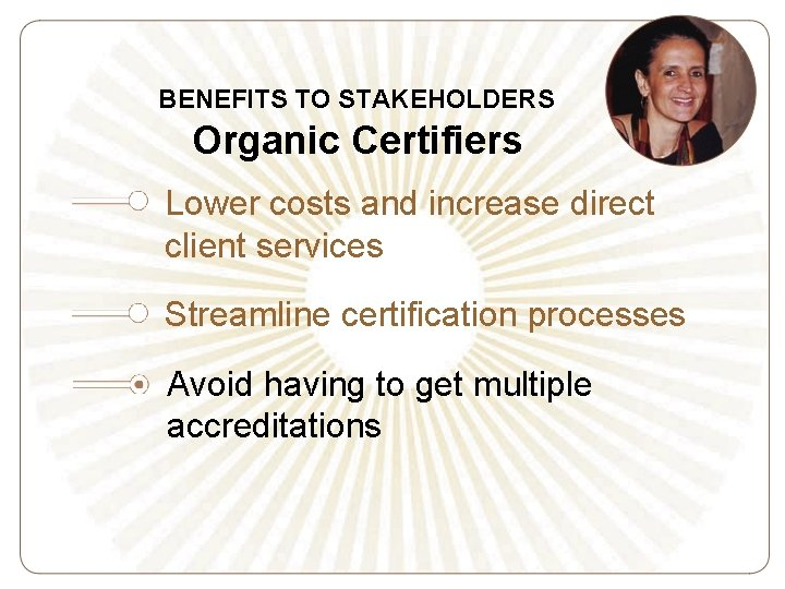 BENEFITS TO STAKEHOLDERS Organic Certifiers Lower costs and increase direct client services Streamline certification