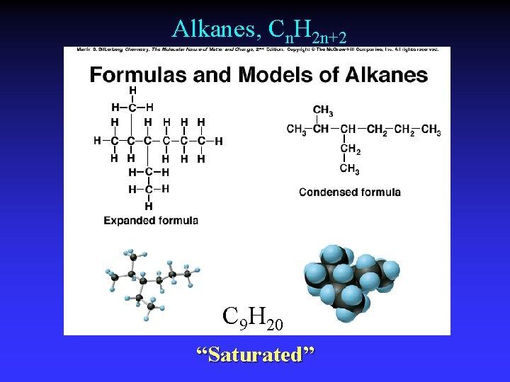 """Alkanes, Cn. H 2 n+2 C 9 H 20 """"Saturated"""""""