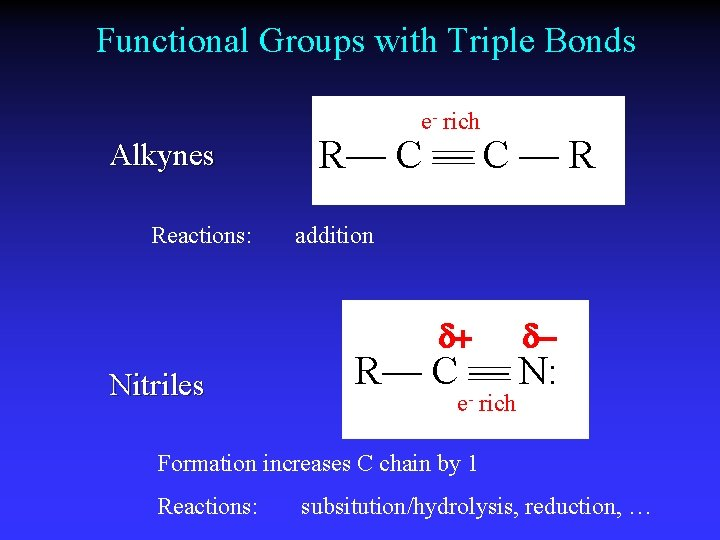 Functional Groups with Triple Bonds e- rich Alkynes Reactions: R— C — R addition