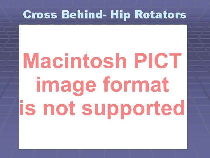 Cross Behind- Hip Rotators