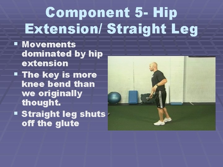 Component 5 - Hip Extension/ Straight Leg § Movements dominated by hip extension §