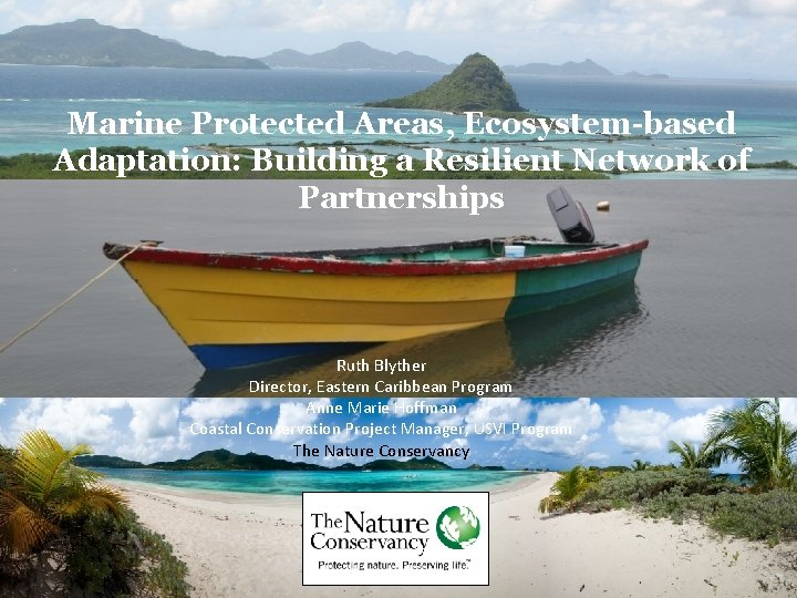 Marine Protected Areas, Ecosystem-based Adaptation: Building a Resilient Network of Partnerships Ruth Blyther Director,