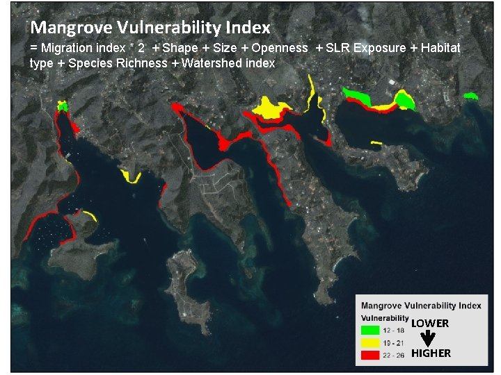 Mangrove Vulnerability Index = Migration index * 2 + Shape + Size + Openness