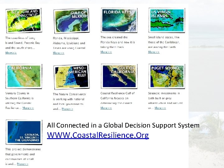All Connected in a Global Decision Support System WWW. Coastal. Resilience. Org
