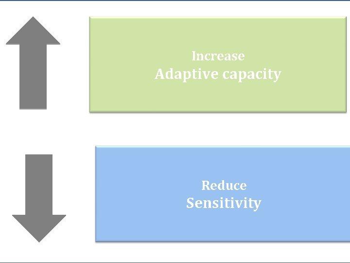 Increase Adaptive capacity Reduce Sensitivity