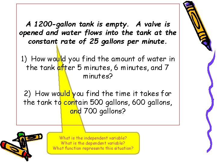 A 1200 -gallon tank is empty. A valve is opened and water flows into