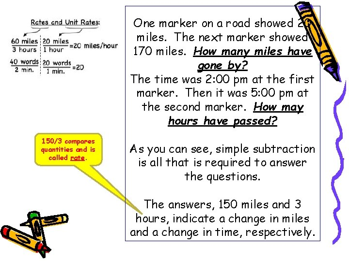 One marker on a road showed 20 miles. The next marker showed 170 miles.