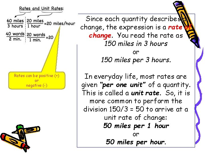 Since each quantity describes a change, the expression is a rate of change. You