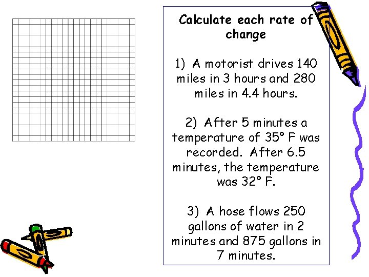 Calculate each rate of change 1) A motorist drives 140 miles in 3 hours