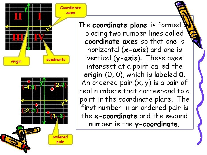 Coordinate axes origin quadrants ordered pair The coordinate plane is formed by placing two