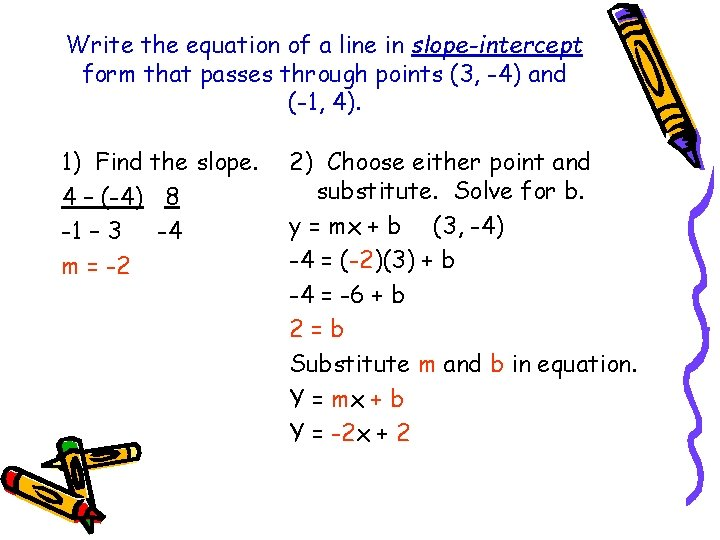 Write the equation of a line in slope-intercept form that passes through points (3,