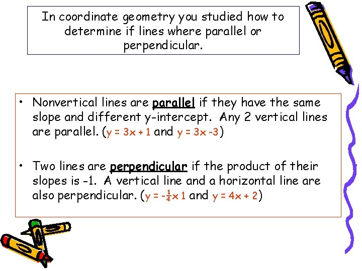 In coordinate geometry you studied how to determine if lines where parallel or perpendicular.