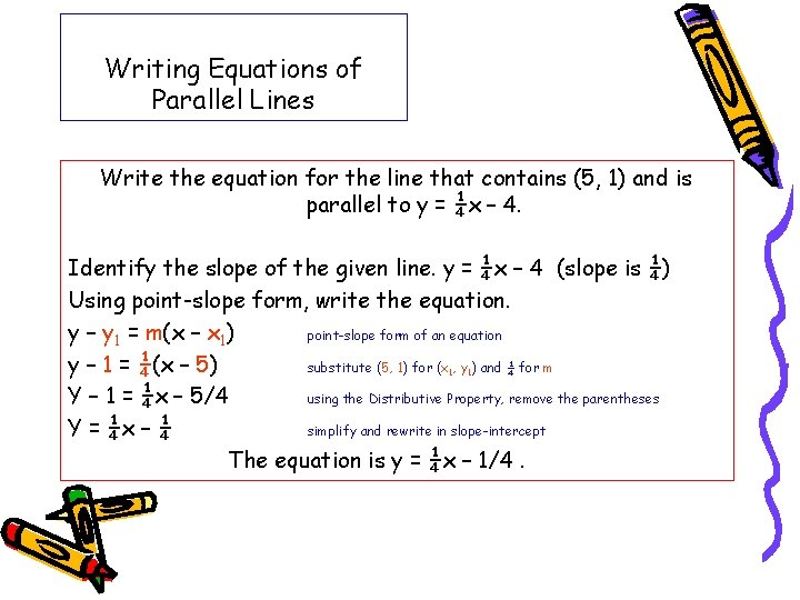 Writing Equations of Parallel Lines Write the equation for the line that contains (5,