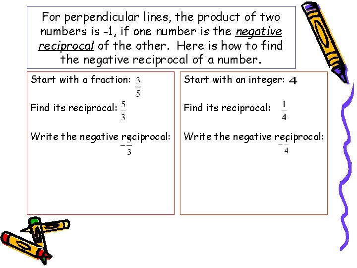 For perpendicular lines, the product of two numbers is -1, if one number is