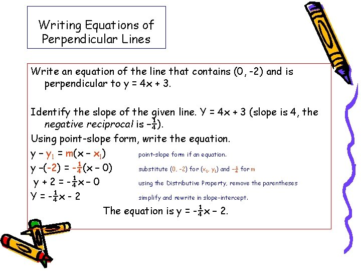 Writing Equations of Perpendicular Lines Write an equation of the line that contains (0,