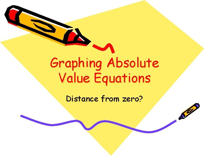 Graphing Absolute Value Equations Distance from zero?