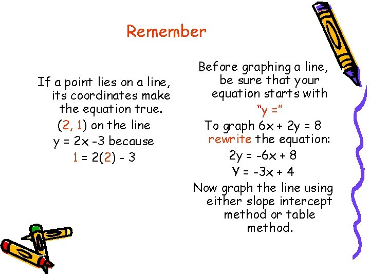 Remember If a point lies on a line, its coordinates make the equation true.