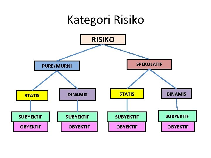 Kategori Risiko RISIKO SPEKULATIF PURE/MURNI DINAMIS STATIS DINAMIS SUBYEKTIF OBYEKTIF STATIS