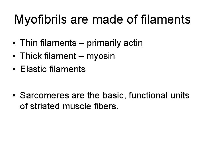 Myofibrils are made of filaments • Thin filaments – primarily actin • Thick filament