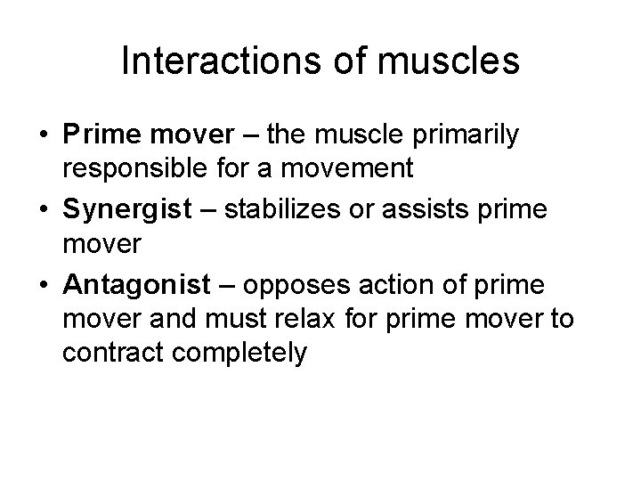 Interactions of muscles • Prime mover – the muscle primarily responsible for a movement