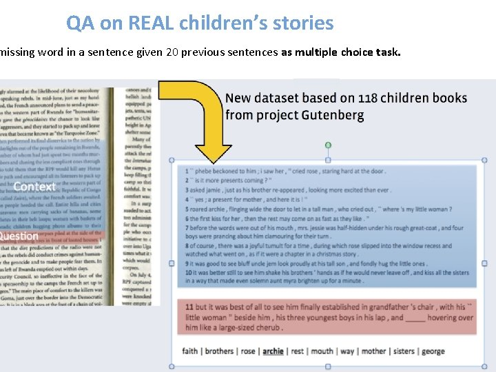 QA on REAL children's stories missing word in a sentence given 20 previous