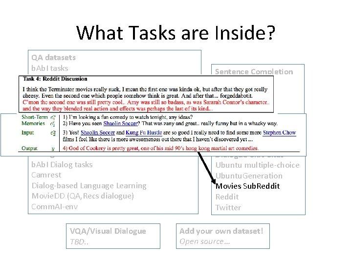 What Tasks are Inside? QA datasets b. Ab. I tasks MCTest Squ. AD, News.