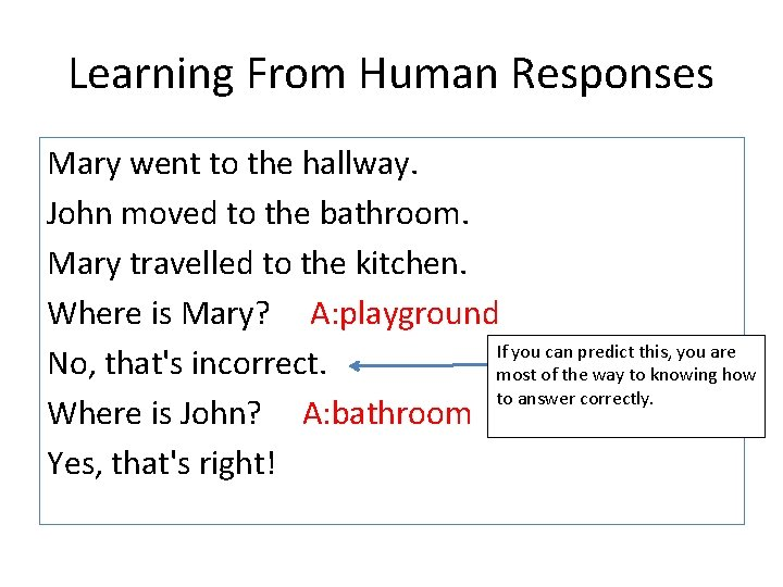 Learning From Human Responses Mary went to the hallway. John moved to the bathroom.