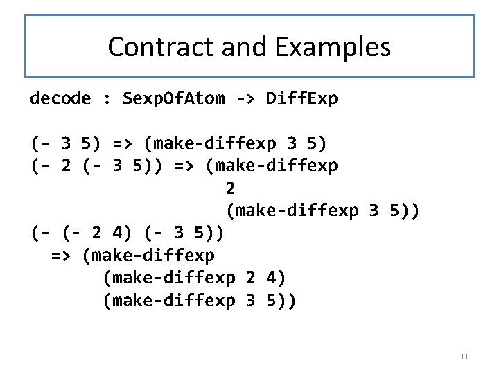 Contract and Examples decode : Sexp. Of. Atom -> Diff. Exp (- 3 5)