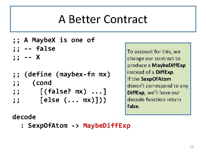 A Better Contract ; ; A Maybe. X is one of ; ; --