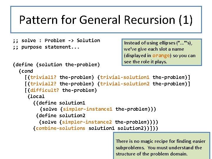 Pattern for General Recursion (1) ; ; solve : Problem -> Solution Instead of