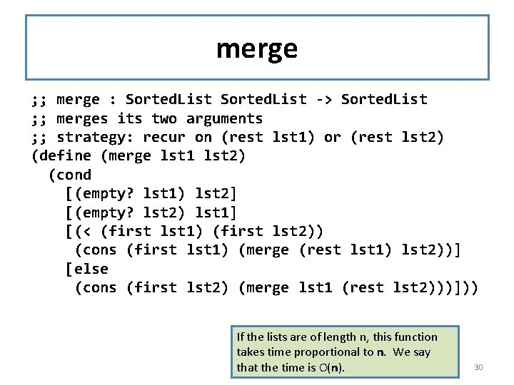 merge ; ; merge : Sorted. List -> Sorted. List ; ; merges its