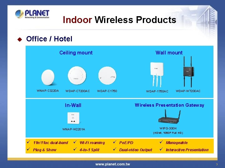 Indoor Wireless Products u Office / Hotel Ceiling mount WNAP-C 3220 A WDAP-C 7200