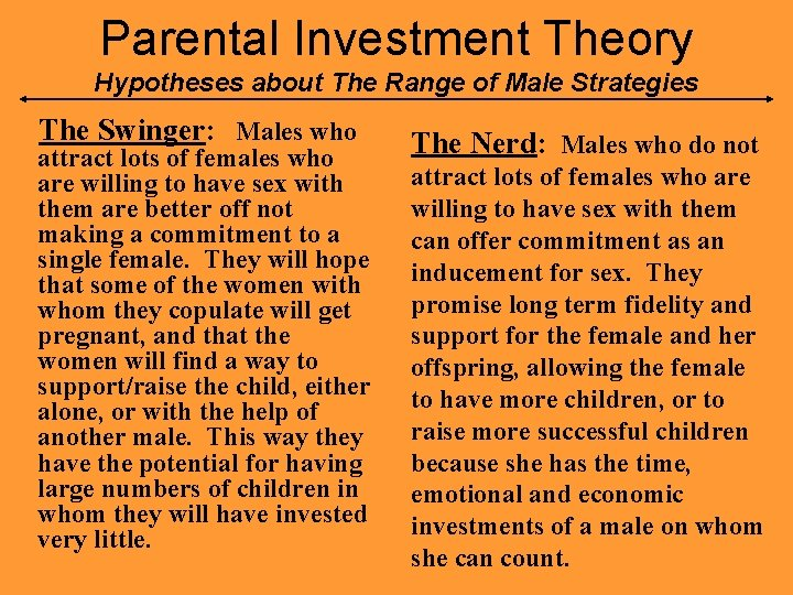 Theory parental investment Munchausen by