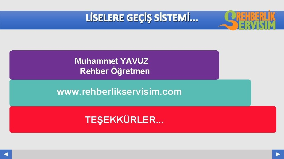 LİSELERE GEÇİŞ SİSTEMİ. . . Muhammet YAVUZ Rehber Öğretmen www. rehberlikservisim. com TEŞEKKÜRLER. .