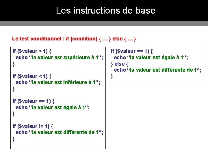 Les instructions de base Le test conditionnel : if (condition) { … } else