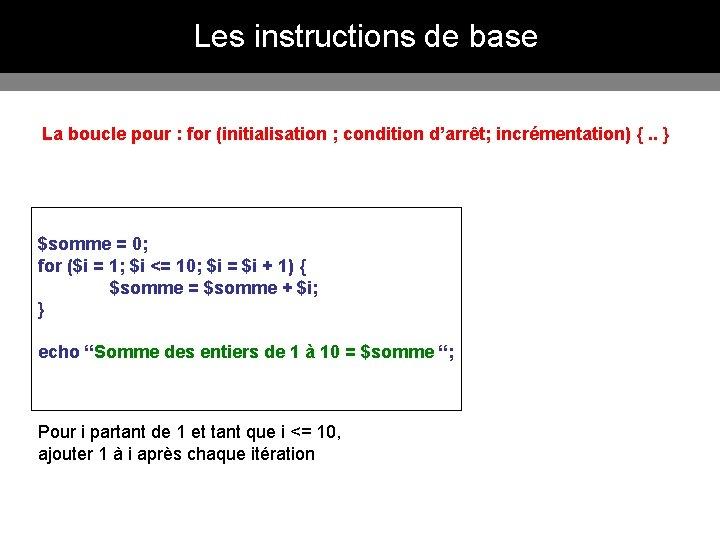 Les instructions de base La boucle pour : for (initialisation ; condition d'arrêt; incrémentation)
