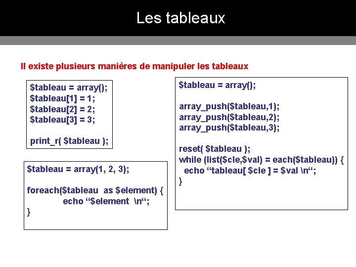 Les tableaux Il existe plusieurs manières de manipuler les tableaux $tableau = array(); $tableau[1]