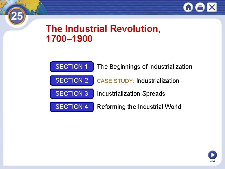 The Industrial Revolution, 1700– 1900 SECTION 1 The Beginnings of Industrialization SECTION 2 CASE