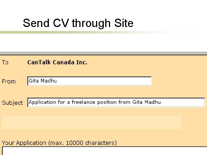 Send CV through Site