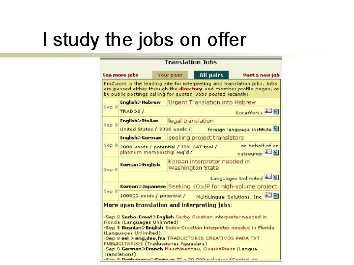 I study the jobs on offer