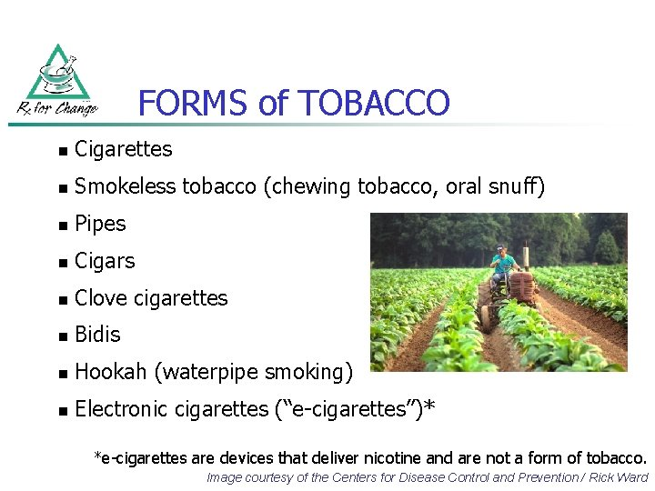 FORMS of TOBACCO n Cigarettes n Smokeless tobacco (chewing tobacco, oral snuff) n Pipes